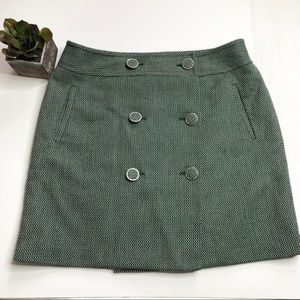 LOFT wrap button-up tweed skirt